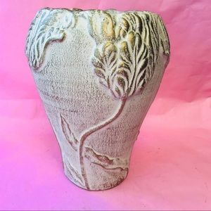 Vintage gold/cream tall vase with floral design